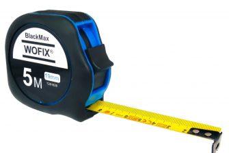 Wofix 7291627 Rolmaat BlackMax rubber met gecoate stalen band 5M - bandbreedte 25mm