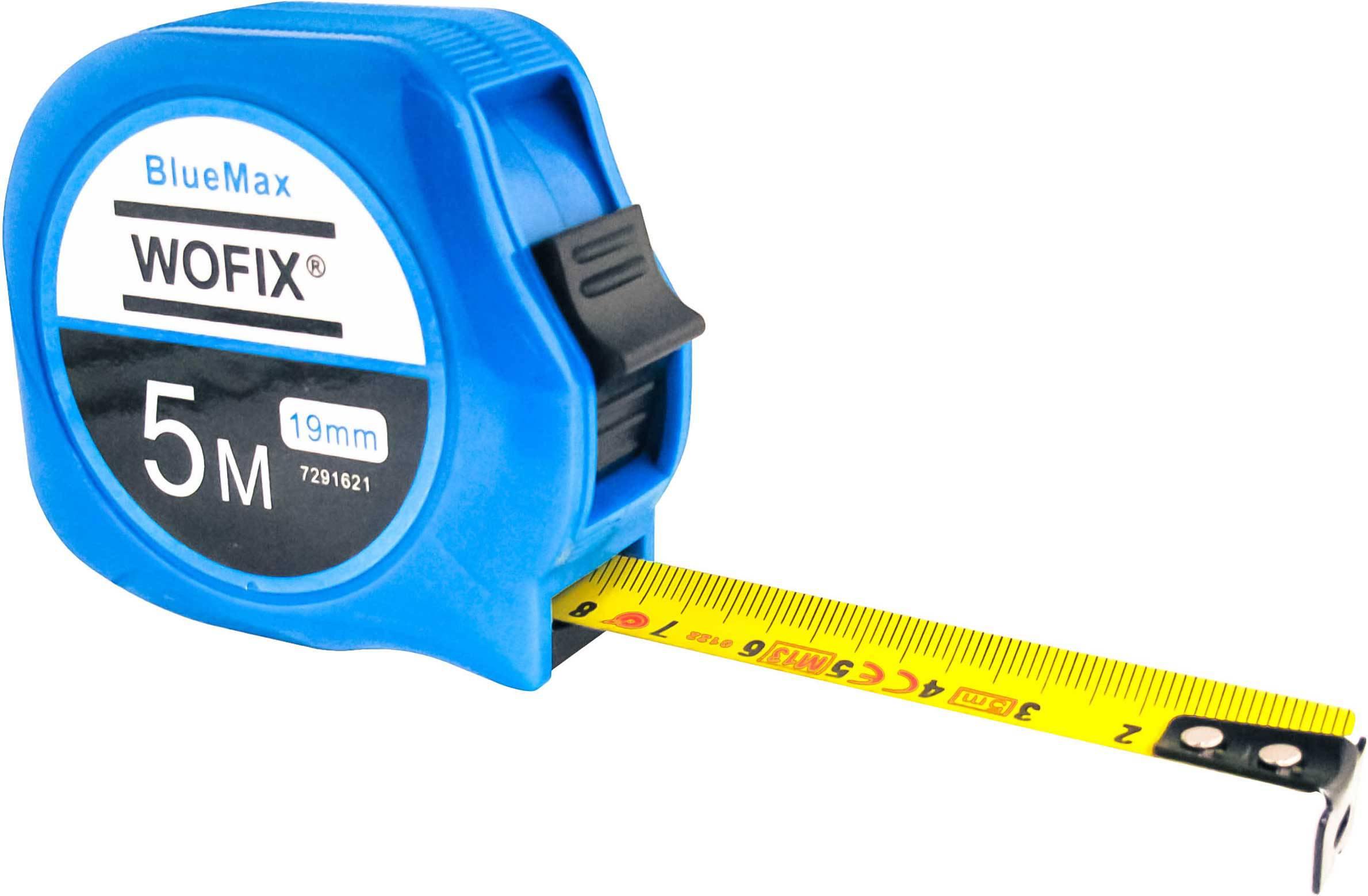 Wofix 7291621 Rolmaat BlueMax kunststof met gecoate stalen band 5M - bandbreedte 19 mm