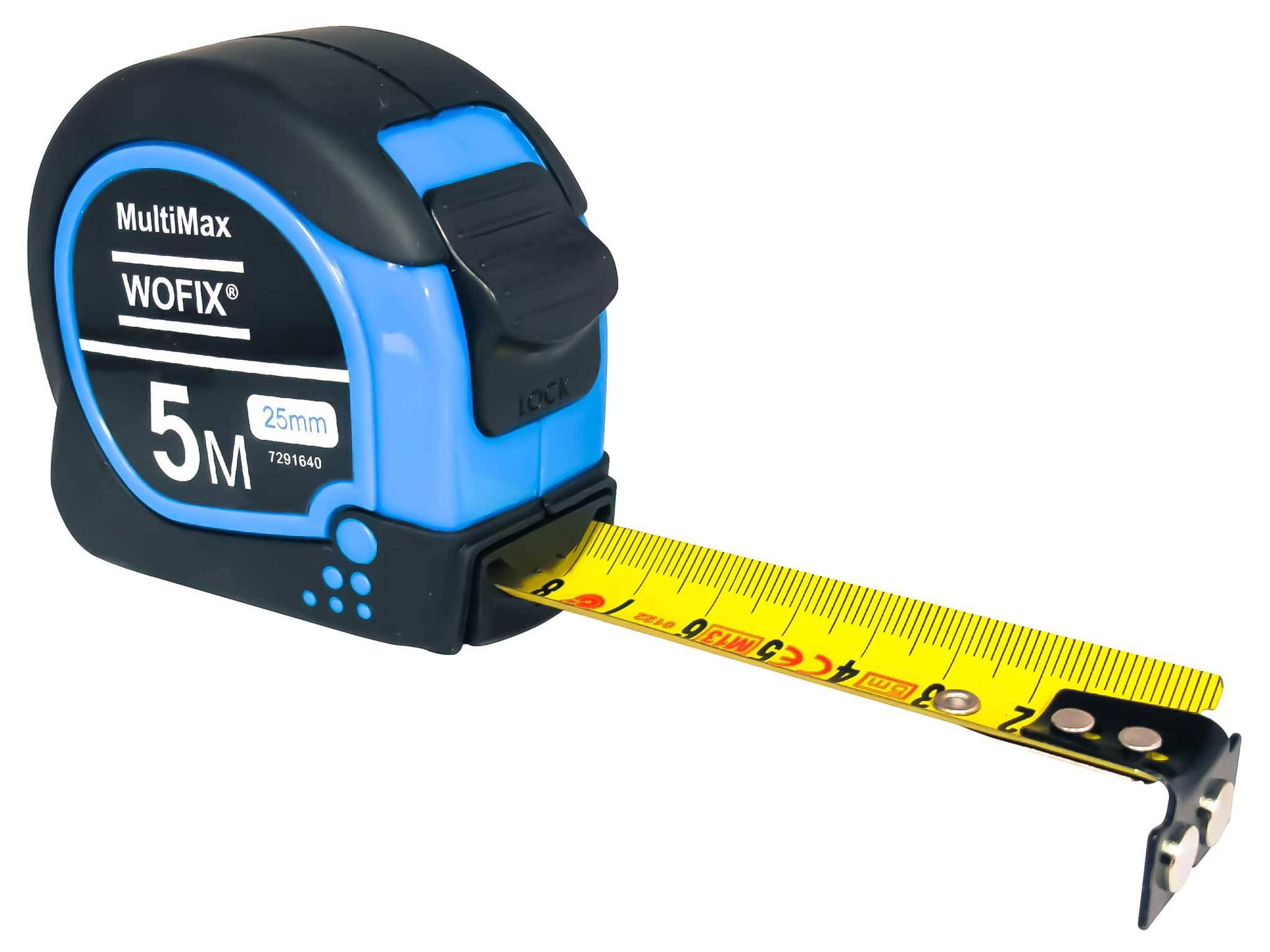 Wofix 7291640 Rolmaat MultiMax rubber met magnetisch uiteinde en gecoate stalen band 5M - bandbreedte 25mm