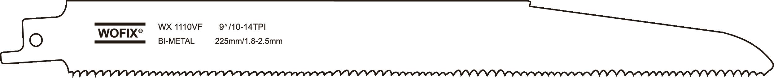 Wofix 5121048/WX1110VF Reciprozaagblad voor hout, sloop- en reddingswerkzaam. 5 st.